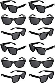 TheGag Black Sunglasses Wholesale Party Pack-12 Retro Wayfarer Risky Business-Blues Brothers Black Sunglasses for Graduati...