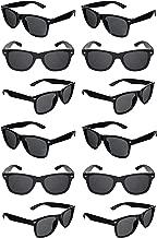 TheGag Black Sunglasses Wholesale Party Pack-12 Retro Wayfarer Risky Business-Blues Brothers Black Sunglasses for Graduation Mardi Gras Holidays-Birthday Wedding Party Adult Kids-New
