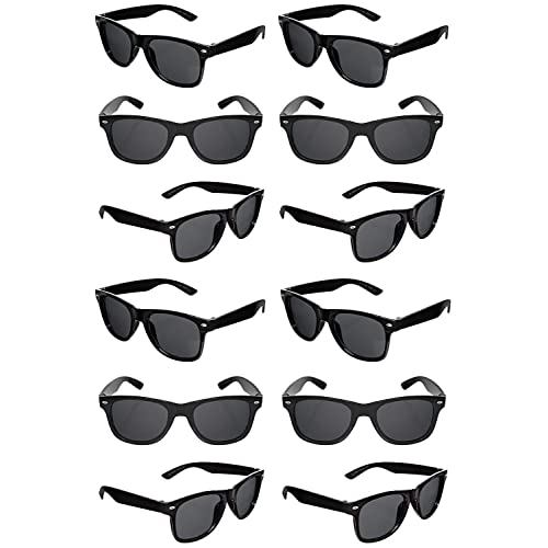 4ee54de1ed36 TheGag Black Sunglasses Wholesale Party Pack-12 Retro Wayfarer Risky  Business-Blues Brothers Black