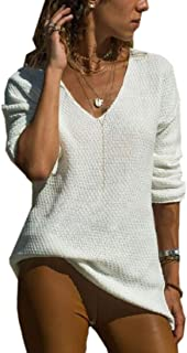 Women Knit Pullover Sweaters V Neck Long Sleeve Jumper Tops