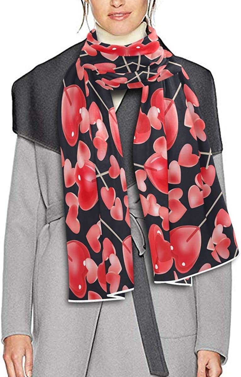 Scarf for Women and Men Valentine's Day With Pink Hearts Candy Red Lollipops Shawl Wraps Blanket Scarf Warm soft Winter Oversized Scarves Lightweight