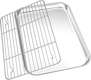 Toaster Oven Tray Pan Set[Pan + Rack], WKTFOBM Stainless Steel Baking Sheet with Wire Cooling Rack Set(12.5