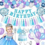 KELEQI Decoraciones de cumpleaños niñas, Feliz cumpleaños hincha Bandera del Partido Decoración Set con Papel de Globos de Papel borlas Hada Corona y Caña + Copos de Nieve de la Torta