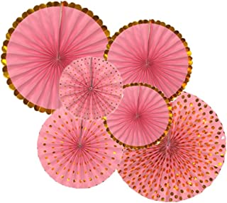 6Pcs Baby Pink Round Hanging Party Paper Fans Set Baby Shower Birthday Wedding Themed Event Decorations