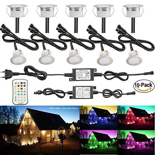 FVTLED Spots LED Encastrable Extérieur 12W DC12V IP67 Ø45mm Etanche Spot Extérieur Lampe de Sécurité Acier inoxydable pour Jardin,Allée,Pelouse,Couloir,Escalier,Usage Extérieur,etc(RGB+WW)-10pcs