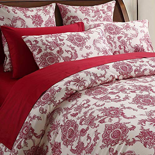 Softta Luxury King Size Vintage Red Flower Paisley Pattern on Off- White Retro Lvory White Fresh Chic Boho Floral Bedding Sets 3Pcs Duvet Cover Set 100% Egyptian Cotton Bedding Collection