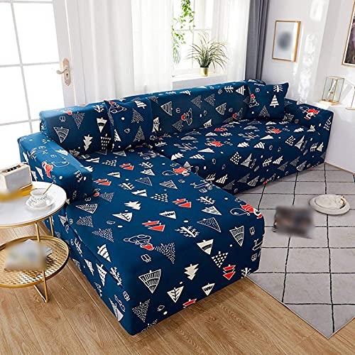 Sofabezüge Sektionaler Couchbezug, L-förmige Sofabezüge Chaise Lounge 2 Stück rutschfeste Print Stretch Sofa Schonbezug für Wohnzimmer-B-4+4 Sitzer