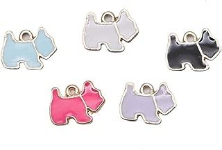 JETEHO 20pcs Enamel Dog Charms Dog Beads Pendant for Jewelry Making Bracelets DIY 14mm x10mm