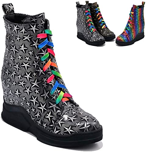 ZHRUI Stiefel para damen - Stiefel de Encaje con Suela Gruesa Botines Estampados y Stiefel de Terciopelo Martin Stiefel para damen de Abrigo 34-43 (Farbe   Silber, tamaño   38)