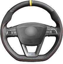 QOHFLD Cubierta del Volante Cómoda Cubierta de Volante Negra con Costura, para Seat Leon Cupra R 2013-2019