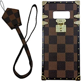 jiehao Samsung Galaxy S8 Plus S8+ Case, Vintage Elegant Luxury Designer Lattice PU Leather Back with Lanyard Soft Bumper Shock Absorption Trunk Case for Galaxy S8 Plus 6.2