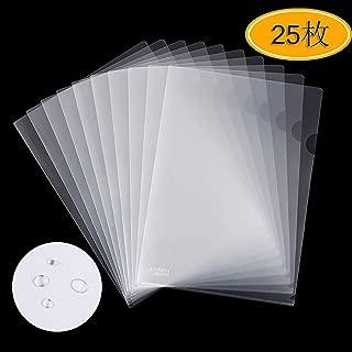 クリアホルダー a4 クリアファイル ファイル ケース 通知表ホルダー 透明 薄型 書類 資料 収納 バッグ カバン 25枚 (透明)