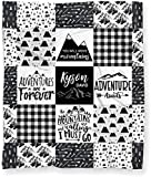 "Baby Blanket for Boys, Personalized Mountains are Calling Tribal Adventure Woodland Baby Shower Gift - (Soft Minky Fleece - 30"" x 40"" Arrow Back)"