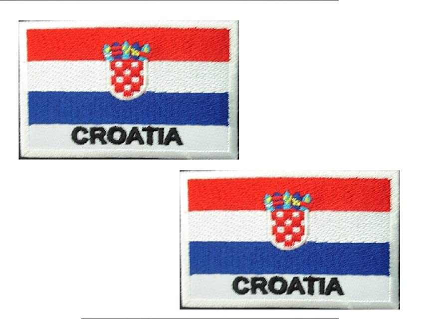 2 pieces CROATIA Flag Iron On Patch Applique Motif Country Croatian Decal 2.7