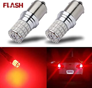 iBrightstar Newest 9-30V Flashing Strobe Blinking Brake Lights 1156 1141 1003 BA15S LED Bulbs replacement for Tail Brake Stop Lights, Brilliant Red
