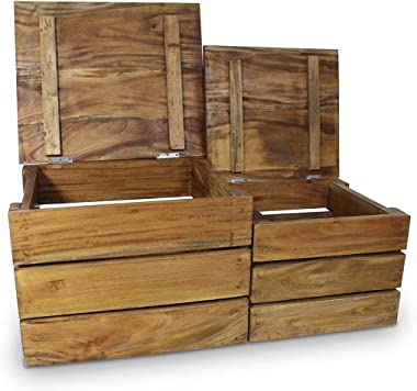 Nicoone Storage Crate Set 2 Pieces Solid Reclaimed Wood Decorative Fully-Handmade Wood Crates Storage Container Natural Woode