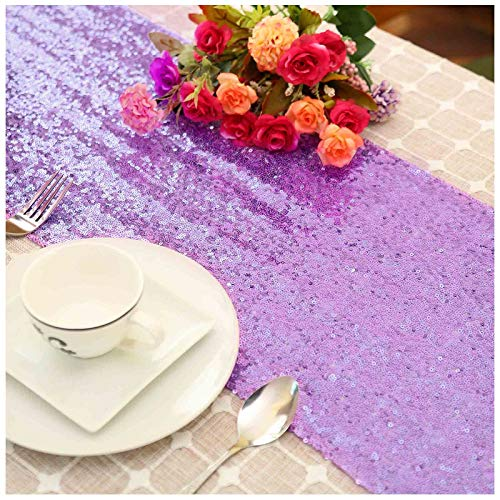 LQIAO Lavender Sequin Table Runner-12x72inch Lilac Sequin Fabric Wedding Party Decoration Fring Sequin Curtain for Door Shimmer Home Curtain Backdrop DIY