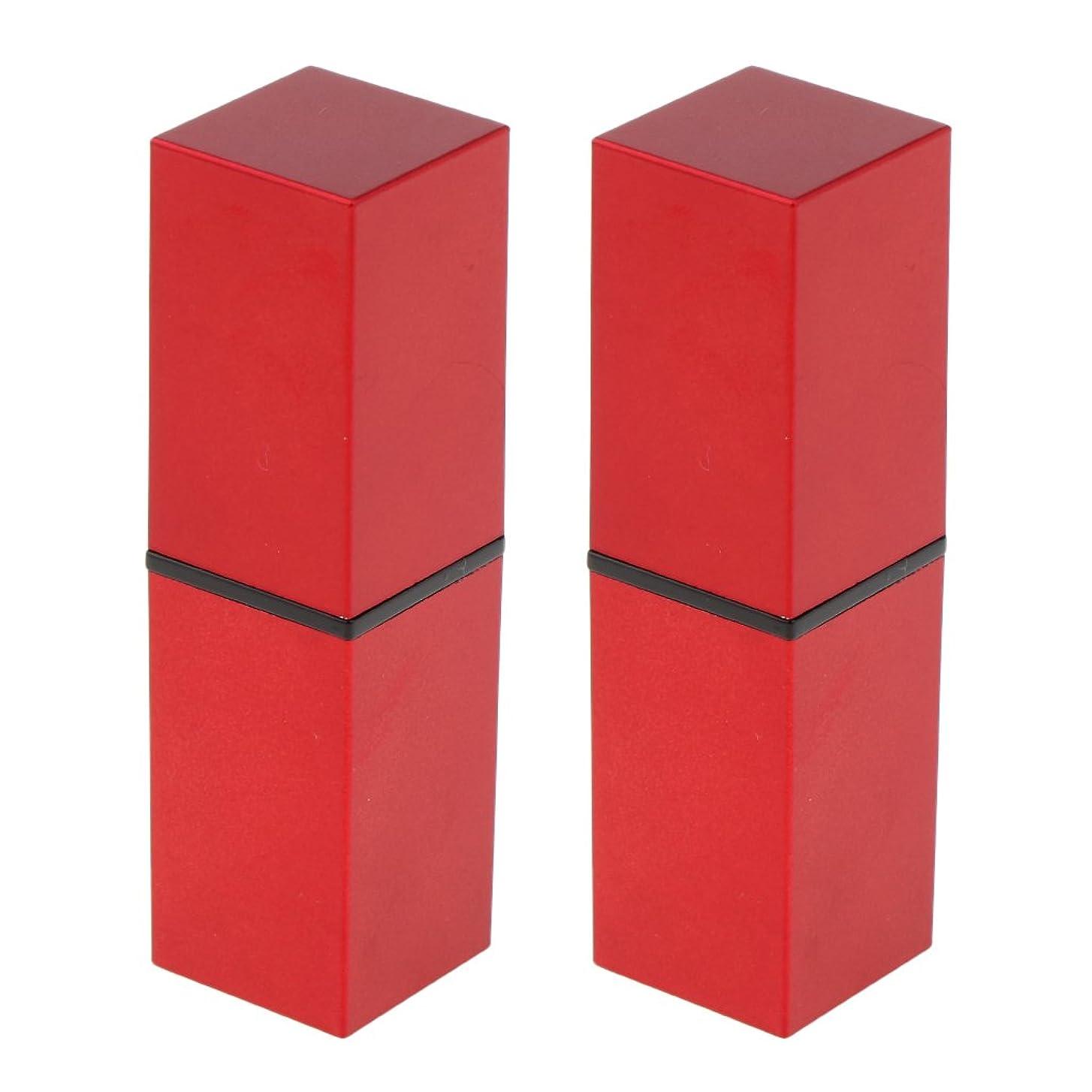 提供ジャンクきしむFenteer 2本 リップスティック 口紅 DIY 空チューブ 収納コンテナ リップバーム 12.1MM 口紅チューブ 手作り 全4色 - 赤