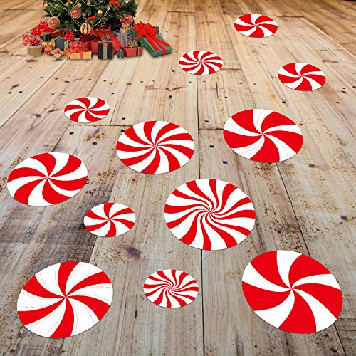 24 Pcs Peppermint Floor Decals Stickers for Christmas Candy Party Decoration Supplies, Candy Party Wall Decals Stickers Xmas Candy Land Party Decor and Supplies