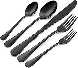40-Piece Black Silverware Set, Modern Stainless Steel Flatware Cutlery Eating Utensils Tableware Sets for 8, Includes Dinn...