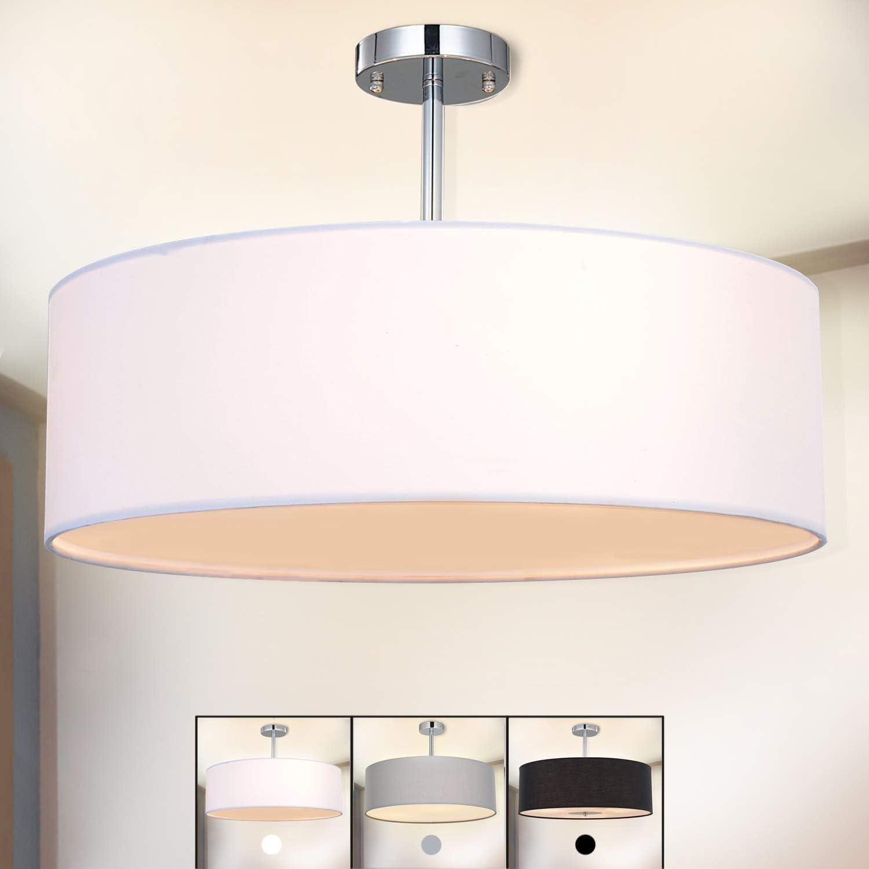Ceiling Light, SPAKRSOR Modern Fabric Pendant Light Shade, Large White Drum Lampshade, Round Pendant Lamp, for Bedroom Living Room, Flush Chrome Matt, 3 Bulb, E27