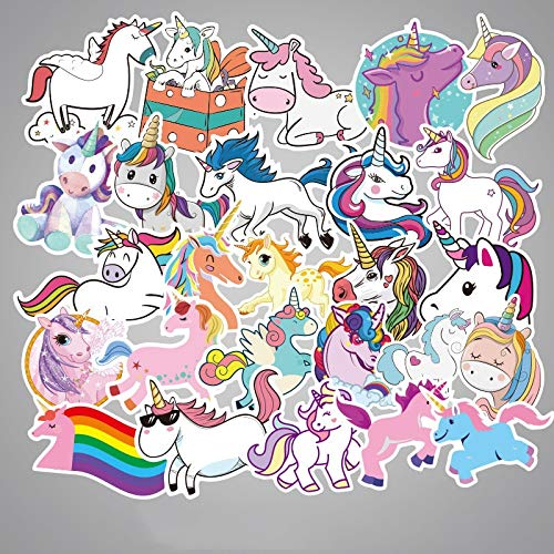 RUIRUI Pegatinas coloridas de unicornio para portátil, coche, equipaje, bicicleta, motocicleta, dibujos animados, PVC, agua, techo, 50 unidades