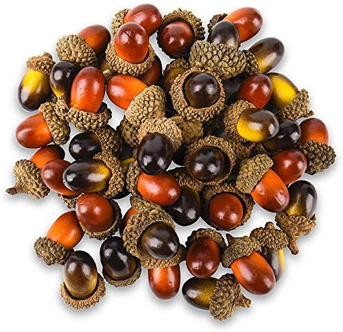 100 Pcs Artificial Acorns with Natural Acorn Cap , Realistic and Natural Looking, 2 Color Small Fake Acorns for Crafting, Wedding, House Decor