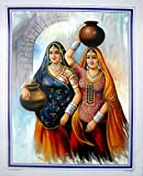Two Friends Returning Home After Drawing Water from The Well Indian Poster/Art of India : Reprint on Paper (Unframed : Size -20'X 16' Inches)