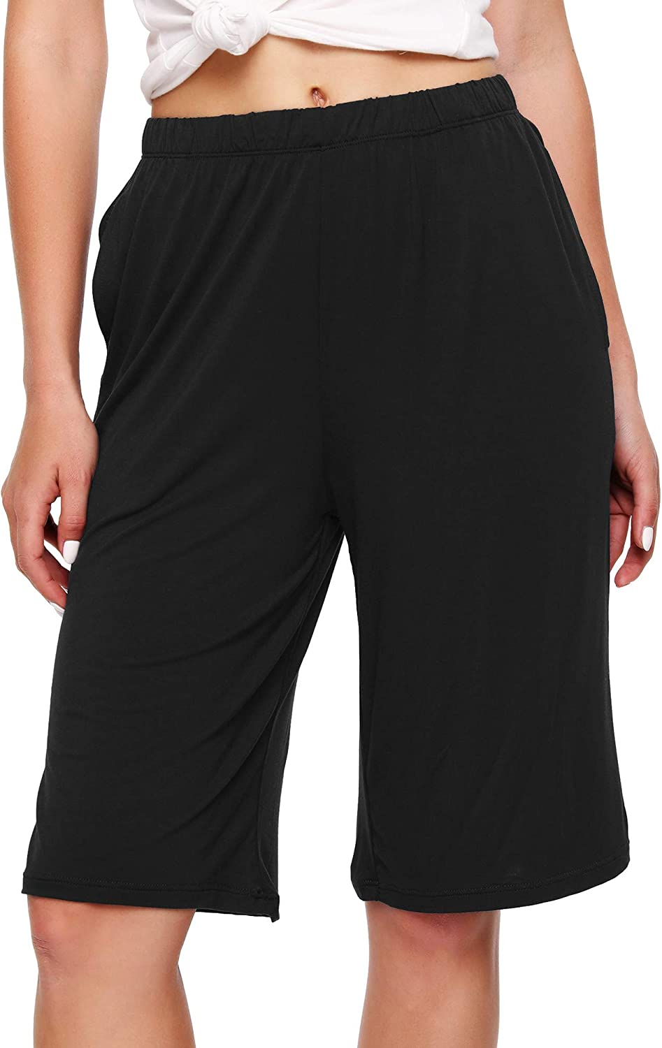 WiWi Bamboo Sleep Shorts for Women Soft Lounge Bottoms with Pockets Plus Size Lightweight Pajama Short Pants S-3X