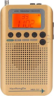 Radio de Banda de Aire VHF, Pantalla LCD de 1 Pulgada Receptor de Radio de Banda múltiple para aeronave para Banda de Aire/FM/Am/SW/VHF/CB SQ Reducción Ruido con Antena Tirantes