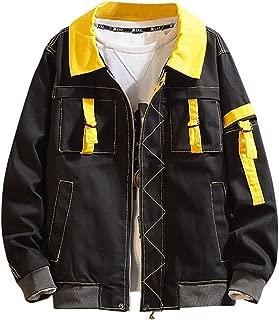 GDJGTA Sweatshirt for Men's Autumn Casual Fashion Patchwork Jacket Multiple Pockets Outwear Coat