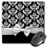 black and white classy mousepad with faux white bow