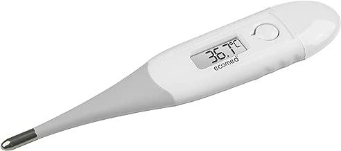Ecomed TM-60E Termómetro digital, Pantalla LCD, punta flexible, medición en 10 segundos, alarma sonora en caso de fiebre, pitido al inicio y final de la medición, almacenamiento último resultado