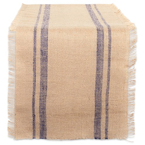 DII Jute Burlap Collection Kitchen Tabletop, Table Runner, 14x72, Blue Double Stripe