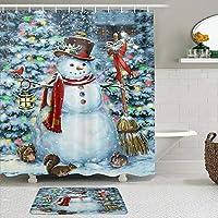GEEVOSUN シャワーカーテン バスマット 2点セット クリスマスツリー冬の雪だるま雪の雪の結晶おかしい動物クリスマス明けましておめでとうございます 自家 寮用 ホテル 間仕切り 浴室 バスルーム 風呂カーテン 足ふきマット 遮光 防水 おしゃれ 12個リング付き