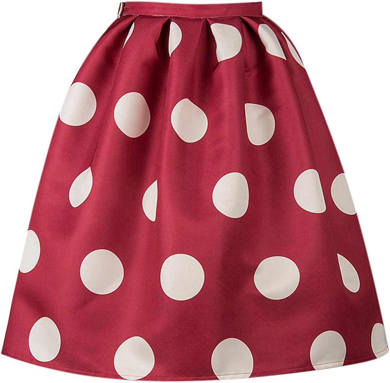 PERSUN Women's Red Polka Dots A-line Keen Length Pleated Skater Skirt