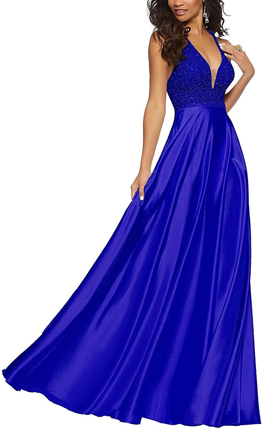 Staypretty Halter Prom Gowns Satin Beaded V Neck Long Formal Women Evening Dresses with Pockets