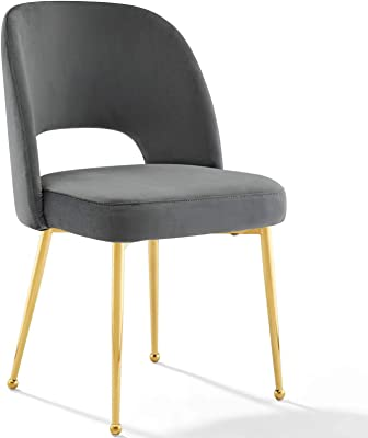 Modway Rouse Performance Velvet Dining Side Chair in Charcoal