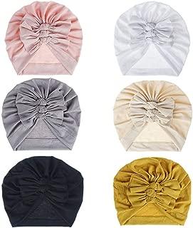 6 Pcs Baby Turban Knot Hats Newborn Infant Toddler Hospital Hat Cotton Head Wrap