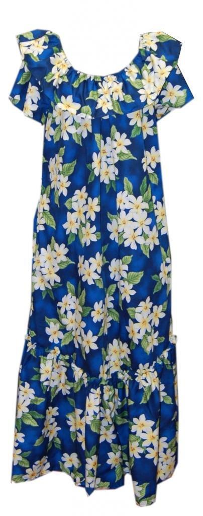 Available at Amazon: Jade Fashions Inc. Women Hawaiian Long Double Ruffle Blue Plumeria Muumuu