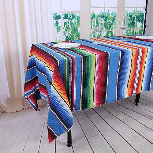 Yzeo, Decke, mexikanische Yoga-Decke mit Flagge, 145 x 180 cm, 100 % Baumwolle, gestreift, mexikanischer Umhang