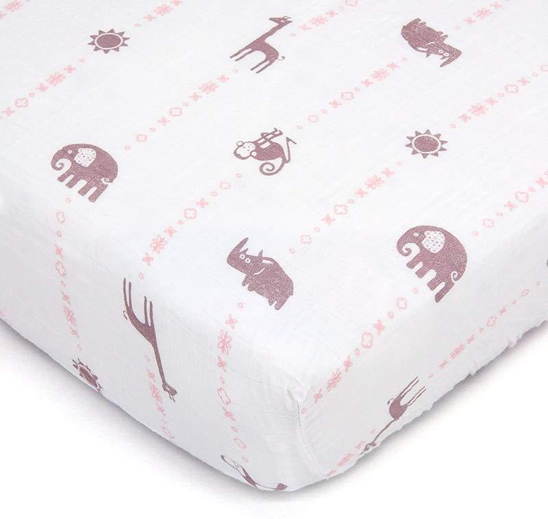 Bambino Land Organic Muslin Crib Sheet Animal Designs Jungle GIrl