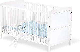 Pinolino - 111422 - Kinderbett Viktoria 140 x 70 cm - mit 3 Schlupfsprossen, Buche, teilmassiv, weiß