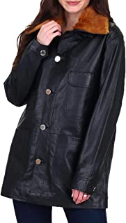 Juicy Couture Womens Leather Faux Fur Work Wear Coat
