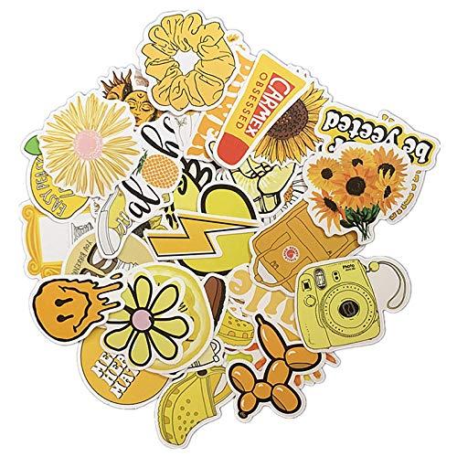 JIAQI Dibujos Animados de Estilo Amarillo Vsco Girl Stickers para Laptop Skateboard Equipaje Refrigerador Notebook Laptop Toy Sticker 50Pcs