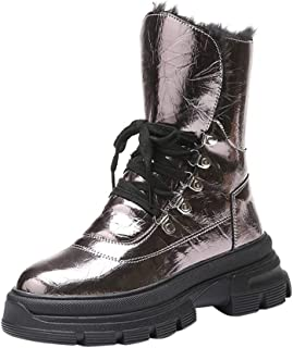 Women's Shiny Faux Leather Ankle Boots Lace up Platform Flat Heel Bootie Waterproof Fleece Lined Cold Weather Warm Casual Short Boot Sneakers