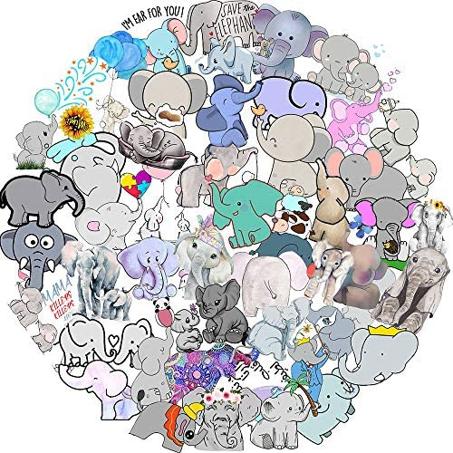 Cartoon Elephant Stickers for Teens Boy Girls Kids 50 Pcs Cute Waterproof Vinyl Animals Stickers product image