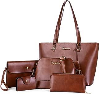 Soperwillton Handbag Set for Women Tote Purse and Handbags Satchel Shoulder Bag 5pcs Purse Set