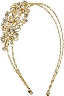 Lux Accessories Women's Goldtone Bridal Bridesmaid Crystal Stretch Metal Coil Headband Headpiece