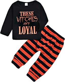 Baby Girls Boys Halloween Clothes Newborn Pumpkin Hoodie Tops Long Striped Pants Outfit Set